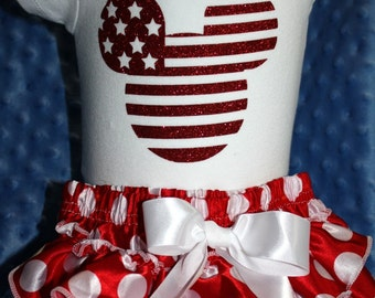 All American Mickey Baby Girl Outfitk with ruffle butt diaper cover and headband