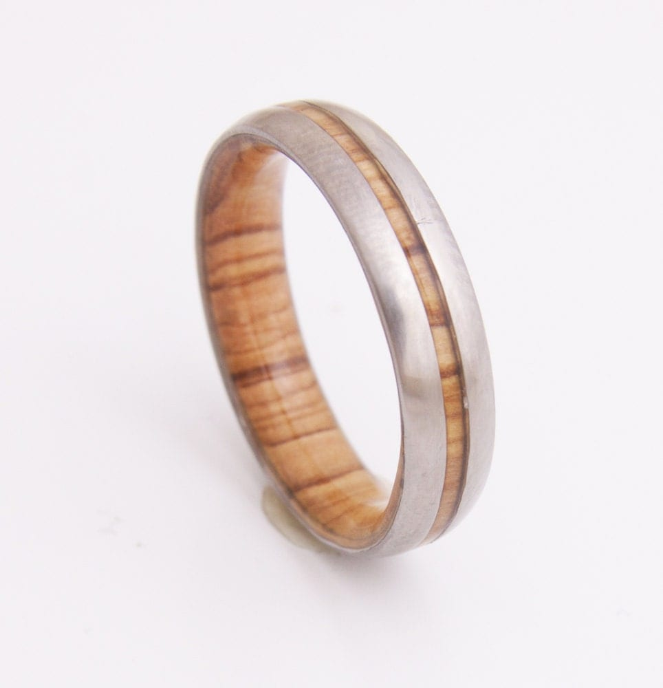 Wooden Rings For Men: Titanium And Olive Rings // Mens Wood Rings //wood Wedding
