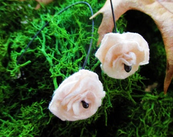 Cow Poop Paper Flower Earrings (Black) - Made to Order
