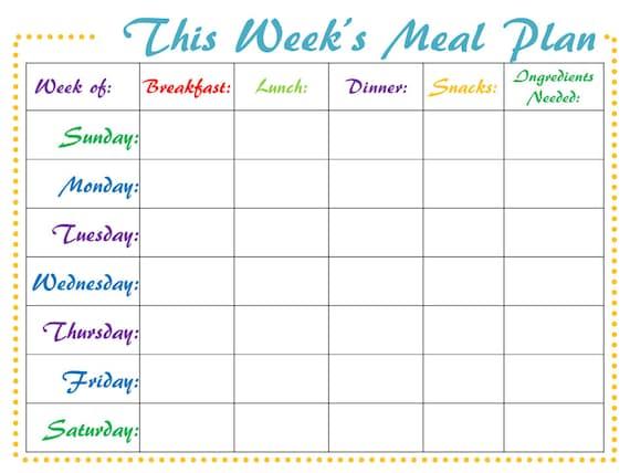 meal planner digital weekly printable meal schedule pdf