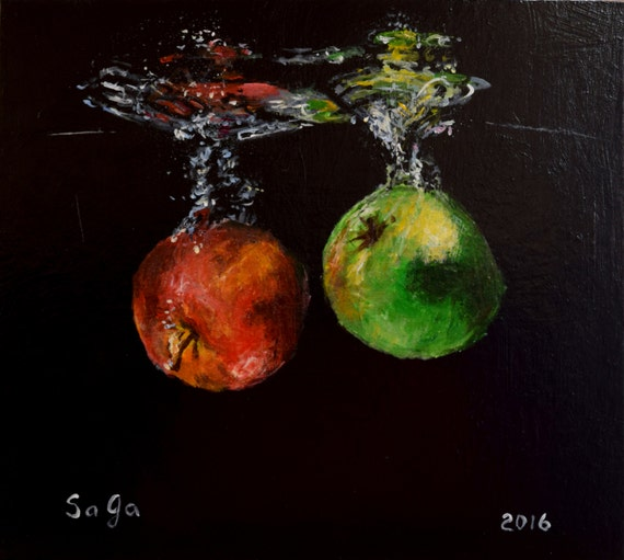 Apples in the water acrylic original painting black for Acrylic painting on black background