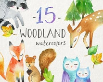 Woodland Animals Clipart |  Watercolor Animal Clip Art - Forest Animals - Baby Fox, Deer, Owl, Squirrel, Raccoon - Instant Download PNG File