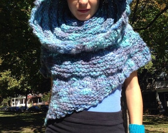 Hand Knit Capelette with Cowl