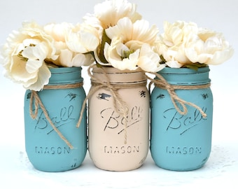 Mason Jars, Mason Jars Bulk, Dorm Decor, Painted Mason Jars, Wedding Centerpiece, Beach Decor, Painted Jars, Mason Jar Centerpiece, Boho Jar