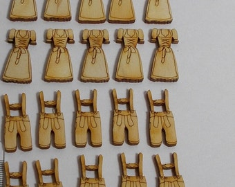 20 Dirndl and leather trousers 10 each cards-applicator, scattering parts, scrapbooking wooden gift tags giveaway DIY