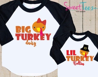 Thanksgiving Shirt Set Big Turkey Lil Turkey Shirt SET Raglan 3/4th Sleeve Shirt Toddler Youth