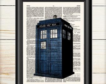 Doctor Who, Tardis Dr Who, Tardis Wall Art, Dictionary Print, Wall Art Print, Book Print, 048