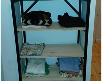 Wood shelves and painted metal