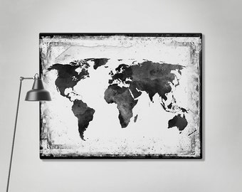 World map canvas art print travel map large world map black world map canvas art print travel map large world map black white gumiabroncs Choice Image