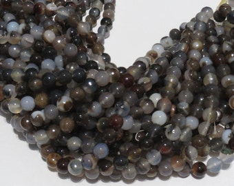10 mm Faceted Brown Multi Color Agate
