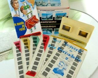 Vintage French 3D Viewer Stereoscope Device, Lourdes & Bernadette Soubirous Souvenirs, Old School Slides Pictures Viewer / A l'Oubliette