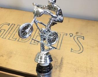 Repurposed BMX Trophy Topper Wine Bottle Stopper