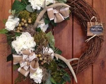 antler wreath, mothersday wreath, natural wreath, neutral wreath, rustic wreath, door wreath, indoor wreath, outdoor wreath