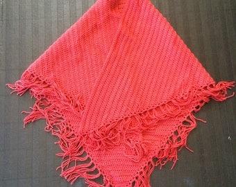 Hand Knit Cranberry Shawl