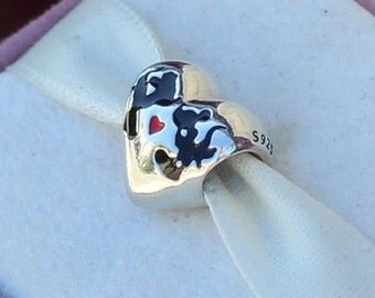 Disney KISSING MINNIE MICKEY Heart Charm -- New / s925 / Sterling Silver / Stamped and Threaded.