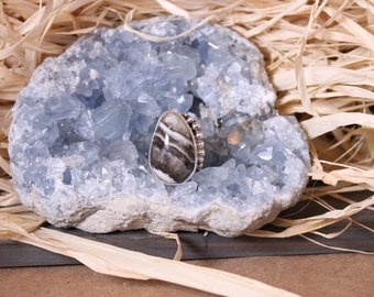Silver lace onyx sterling silver ring with accent balls