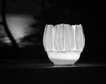 Gemma - lanterns from fine high white porcelain, translucent, 100% handmade - eye-catchers in an atmospheric ambiance - floral object
