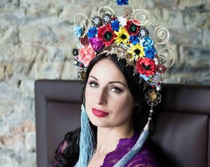Flower Festival Crown National headdress Kokoshnik Red Blue Yellow flowers tassels Headband Bridal Crown Flower Wreath Large Flower Crown