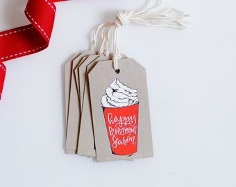 Winter Gift Tag - Holiday Packaging - Hanging Tags - Peppermint Latte Season - Coffee Lover - Gift for Her - Christmas Tags - Illustrated