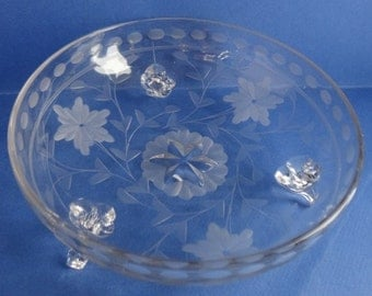 Vintage Etched Clear Glass Dish - Flower and Leaves Design - Three Footed Base