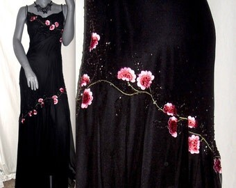 Gorgeous Xscape Beaded Embroidered Floral Cowl Neck Spaghetti Strap Trumpet Formal/Prom Gown/Dress Black/Pink Sz. 8