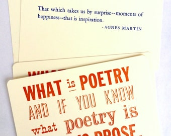 Four Letterpress Postcards / Notecards with Gertrude Stein and Agnes Martin Quotes