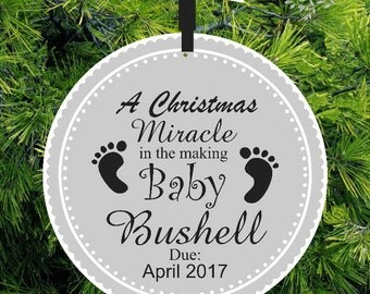 Baby Coming A Christmas Miracle - Expecting Ornament - Baby Footprint We're Expecting Christmas Ornament - ORM5 - lovebirdschristmas