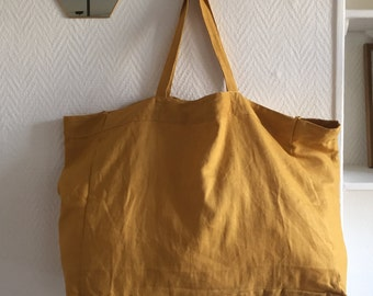Mustard linen Tote