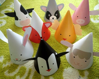 Printable Party Hats | Farm Animal | Birthday Party Hat