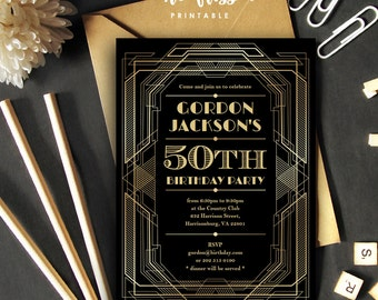 Great Gatsby Invitation | Art Deco Adult Birthday | 5x7 | Editable PDF File | Instant Download | Personalize at home with Adobe Reader