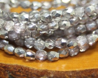 3mm Czech Firepolish, Faceted Round, 50 Beads