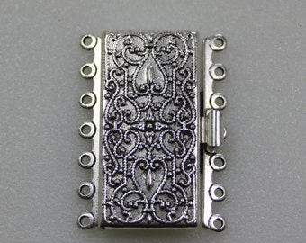 Antique Silver Box Clasp, 7 Strand, Silver Plated Brass