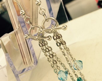 Chained Up Earrings with a Toggle Clasp and Swarovski Crystal / Gifts For Her / Gifts For Girlfriend