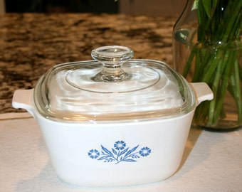 Cornflower Blue by Corning Ware//1 3/4 Quart Casserole Dish With Lid//Vintage Corning Ware