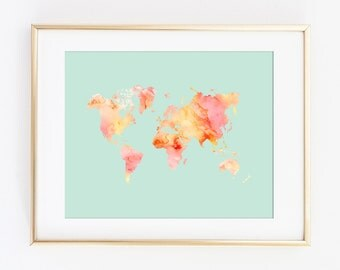 World Map Print, World Map, Pastel World Map, Watercolor World Map, Printable Art Print, Travel Poster, Travel Print, Nursery Wall Art Decor