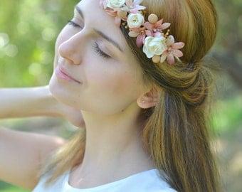 Wedding flower headband Boho Bridal floral crown Ivory beige wedding halo Rustic hair wreath Ivory bridal headpiece Bells flower accessory