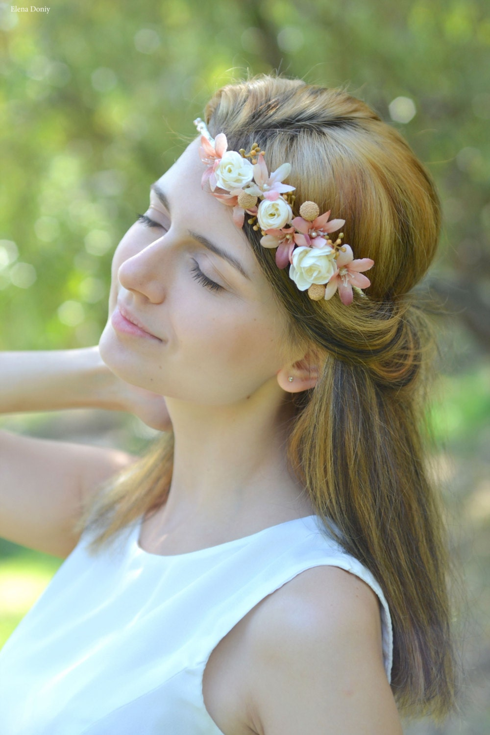 flower headbands for weddings wedding flower headband boho bridal floral crown ivory beige 4196
