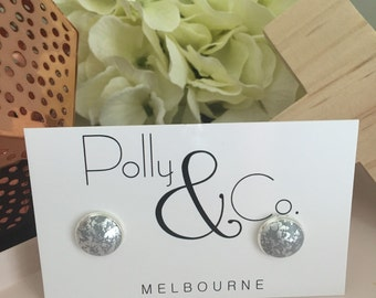 Polymer Clay Silver Plated Bezel Stud earrings - Charcoal with Silver Leaf