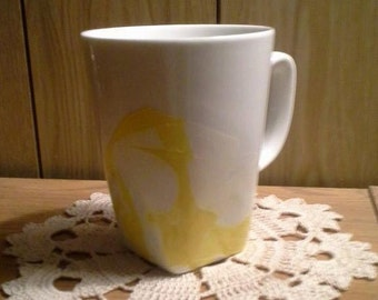 Nail Polish Ceramic Mug - White and Yelloow Mug - Coffee Mug