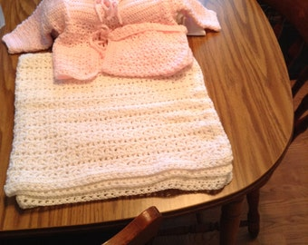 Afghan baby blanket and sweater set