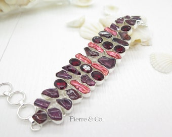 Red Tourmaline Fresh Water Pearl and Garnet Sterling Silver Bracelet