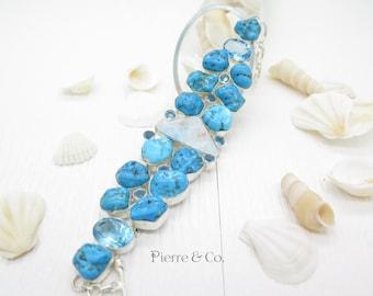 Large Turquoise Larimar Blue Topaz Sterling Silver Bracelet