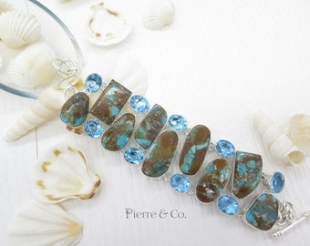 Chrysocolla and Blue Topaz Sterling Silver Bracelet