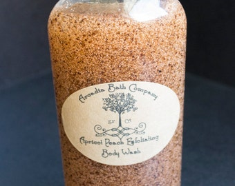 Peach and Apricot exfoliating body wash