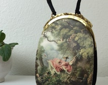 """50's """"The Swing"""" by Jean-Honoré Fragonard (painting) Black Silk Evening Bag by Tano (bag)"""