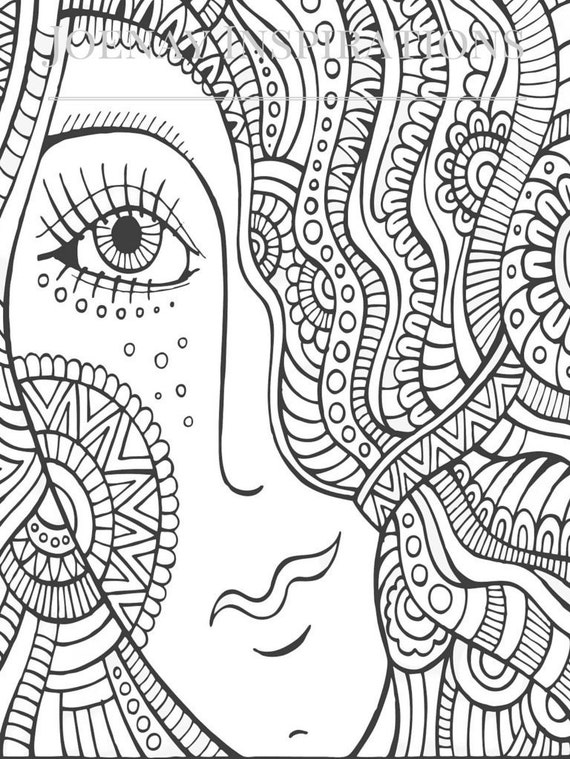 Adult Coloring Book, Printable Coloring Pages, Coloring Pages, Coloring Book for Adults, Instant Download, I love 70s 1 page 5