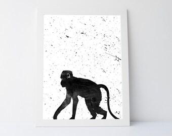Monkey art, monkey print, monkey wall art,wall art print,modern wall decor,modern print,wall art printable, animals wall art, printable art
