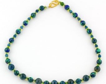 Azurite and Green Sparkles Necklace, polished blues and greens, gold tone clasp. KA7958/15