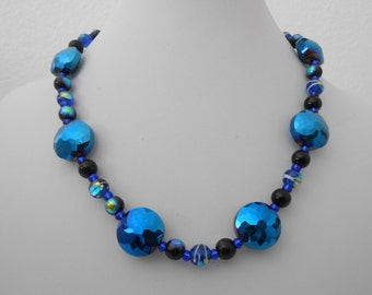 Iridescent blue faceted crystal necklace