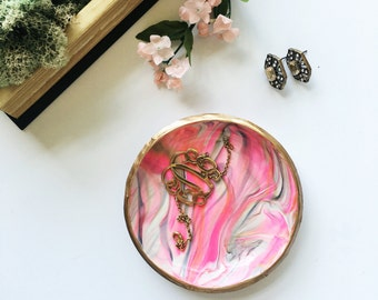 PINK & GOLD // Handmade Marbled Polymer Clay Jewelry Dish, Ring Dish, Trinket Dish, Ring Holder